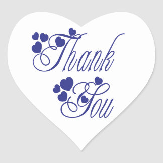 Navy Blue And White Thank You Love Hearts  Wedding Heart Sticker