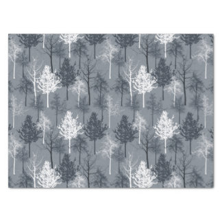 Navy Blue and White Trees Tissue Paper