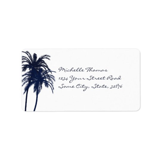Navy Blue and White Tropical Palm Tree