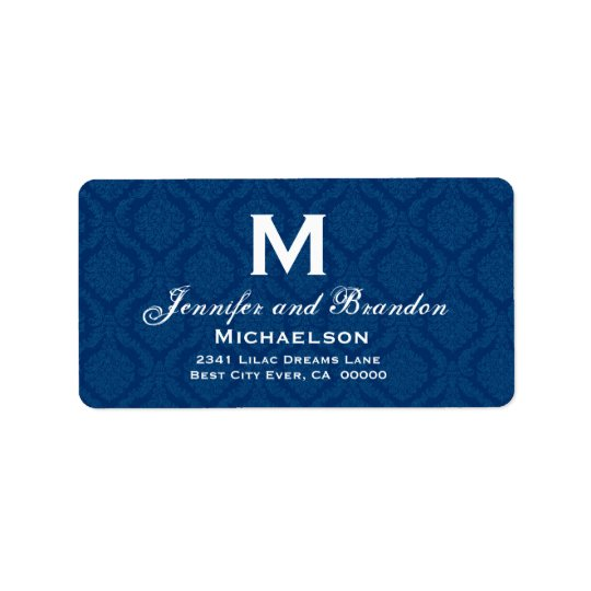 Navy Blue and White Wedding Monogram Personalized Label