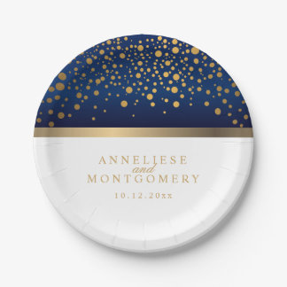 Navy Blue and White with Gold Confetti Dots Paper Plate