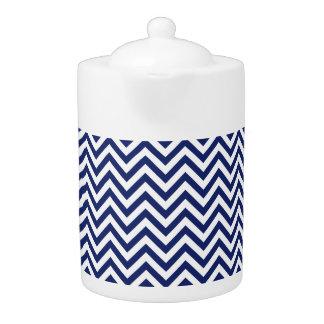 Navy Blue and White Zigzag Stripes Chevron Pattern