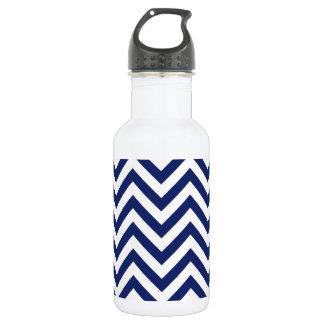 Navy Blue and White Zigzag Stripes Chevron Pattern 532 Ml Water Bottle
