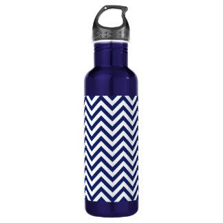 Navy Blue and White Zigzag Stripes Chevron Pattern 710 Ml Water Bottle