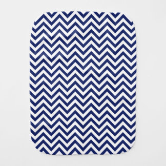 Navy Blue and White Zigzag Stripes Chevron Pattern Baby Burp Cloth