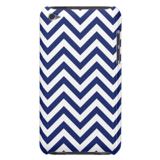 Navy Blue and White Zigzag Stripes Chevron Pattern Barely There iPod Covers