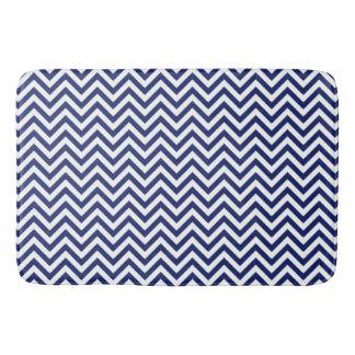 Navy Blue and White Zigzag Stripes Chevron Pattern Bath Mat