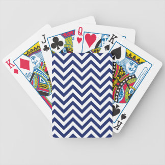 Navy Blue and White Zigzag Stripes Chevron Pattern Bicycle Playing Cards