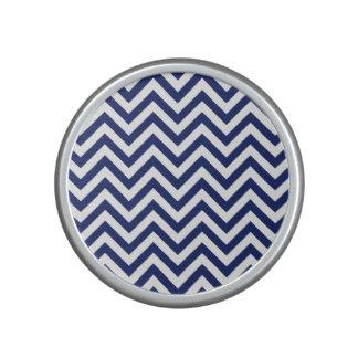 Navy Blue and White Zigzag Stripes Chevron Pattern Bluetooth Speaker