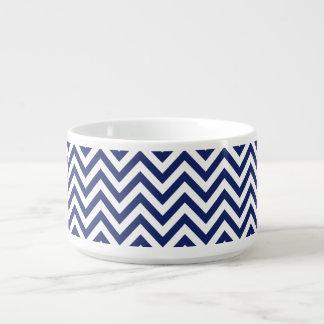 Navy Blue and White Zigzag Stripes Chevron Pattern Bowl