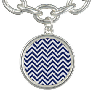 Navy Blue and White Zigzag Stripes Chevron Pattern Bracelet