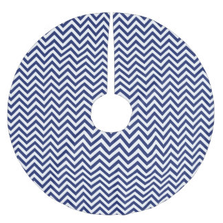 Navy Blue and White Zigzag Stripes Chevron Pattern Brushed Polyester Tree Skirt