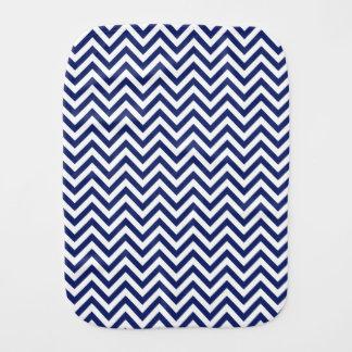 Navy Blue and White Zigzag Stripes Chevron Pattern Burp Cloth