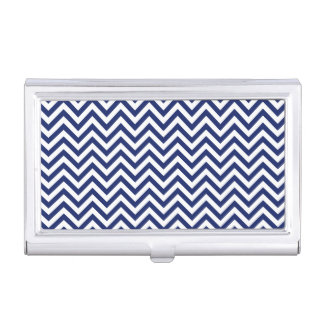 Navy Blue and White Zigzag Stripes Chevron Pattern Business Card Holder