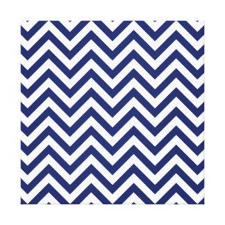 Navy Blue and White Zigzag Stripes Chevron Pattern Canvas Print