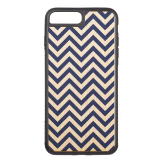 Navy Blue and White Zigzag Stripes Chevron Pattern Carved iPhone 8 Plus/7 Plus Case
