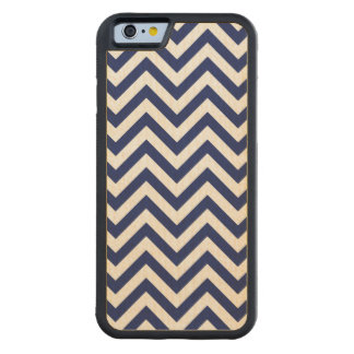 Navy Blue and White Zigzag Stripes Chevron Pattern Carved Maple iPhone 6 Bumper Case