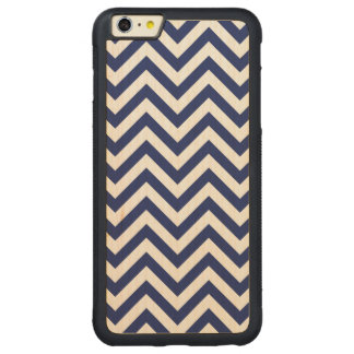 Navy Blue and White Zigzag Stripes Chevron Pattern Carved Maple iPhone 6 Plus Bumper Case