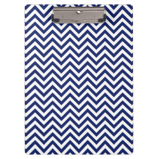 Navy Blue and White Zigzag Stripes Chevron Pattern Clipboard