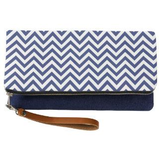 Navy Blue and White Zigzag Stripes Chevron Pattern Clutch