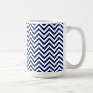 Navy Blue and White Zigzag Stripes Chevron Pattern Coffee Mug