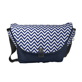 Navy Blue and White Zigzag Stripes Chevron Pattern Commuter Bag