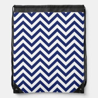 Navy Blue and White Zigzag Stripes Chevron Pattern Drawstring Bag