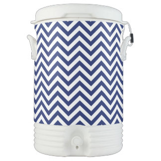 Navy Blue and White Zigzag Stripes Chevron Pattern Drinks Cooler
