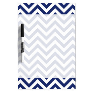 Navy Blue and White Zigzag Stripes Chevron Pattern Dry Erase Board
