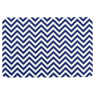 Navy Blue and White Zigzag Stripes Chevron Pattern Floor Mat