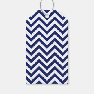 Navy Blue and White Zigzag Stripes Chevron Pattern Gift Tags