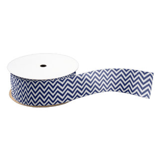 Navy Blue and White Zigzag Stripes Chevron Pattern Grosgrain Ribbon