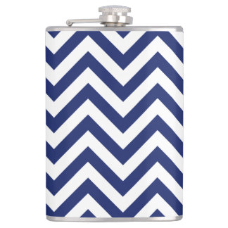 Navy Blue and White Zigzag Stripes Chevron Pattern Hip Flask