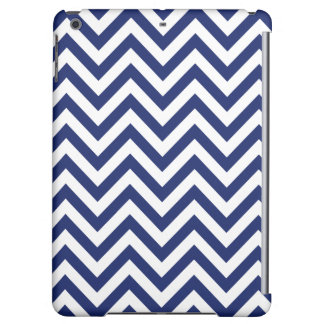Navy Blue and White Zigzag Stripes Chevron Pattern iPad Air Cases