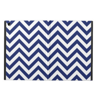 Navy Blue and White Zigzag Stripes Chevron Pattern iPad Air Cover