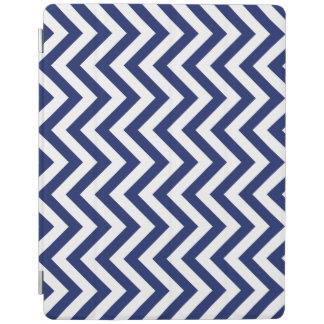 Navy Blue and White Zigzag Stripes Chevron Pattern iPad Cover