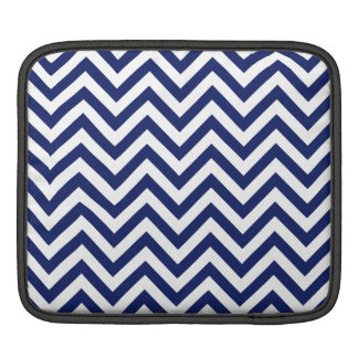 Navy Blue and White Zigzag Stripes Chevron Pattern iPad Sleeve