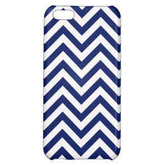 Navy Blue and White Zigzag Stripes Chevron Pattern iPhone 5C Cases