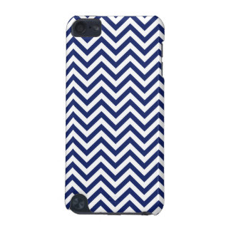 Navy Blue and White Zigzag Stripes Chevron Pattern iPod Touch 5G Cover