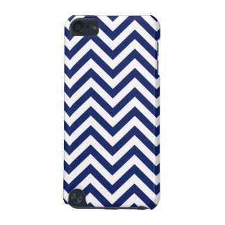 Navy Blue and White Zigzag Stripes Chevron Pattern iPod Touch (5th Generation) Covers