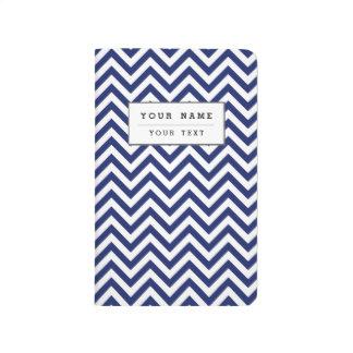 Navy Blue and White Zigzag Stripes Chevron Pattern Journal