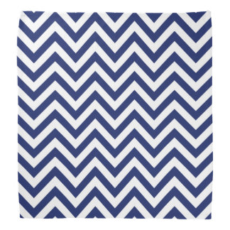 Navy Blue and White Zigzag Stripes Chevron Pattern Kerchief