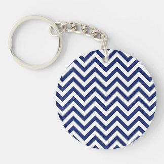 Navy Blue and White Zigzag Stripes Chevron Pattern Keychain