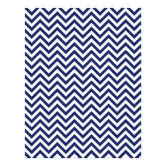 Navy Blue and White Zigzag Stripes Chevron Pattern Letterhead Template