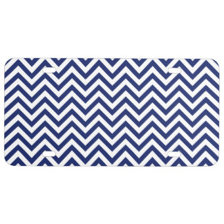 Navy Blue and White Zigzag Stripes Chevron Pattern License Plate