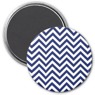 Navy Blue and White Zigzag Stripes Chevron Pattern Magnet