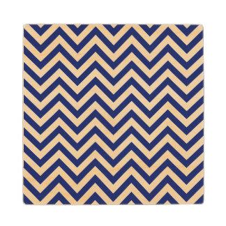Navy Blue and White Zigzag Stripes Chevron Pattern Maple Wood Coaster