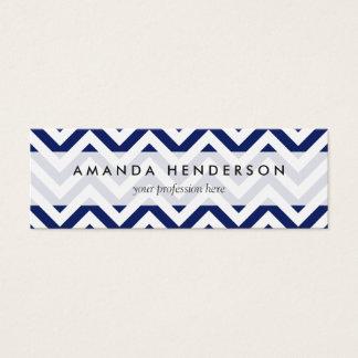 Navy Blue and White Zigzag Stripes Chevron Pattern Mini Business Card