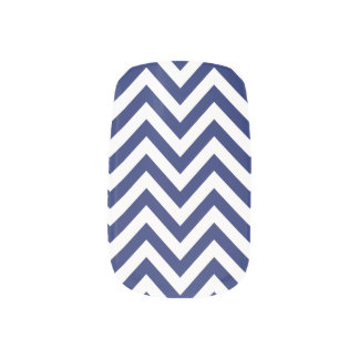 Navy Blue and White Zigzag Stripes Chevron Pattern Minx Nail Art