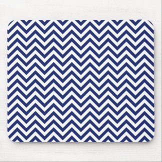 Navy Blue and White Zigzag Stripes Chevron Pattern Mouse Pad